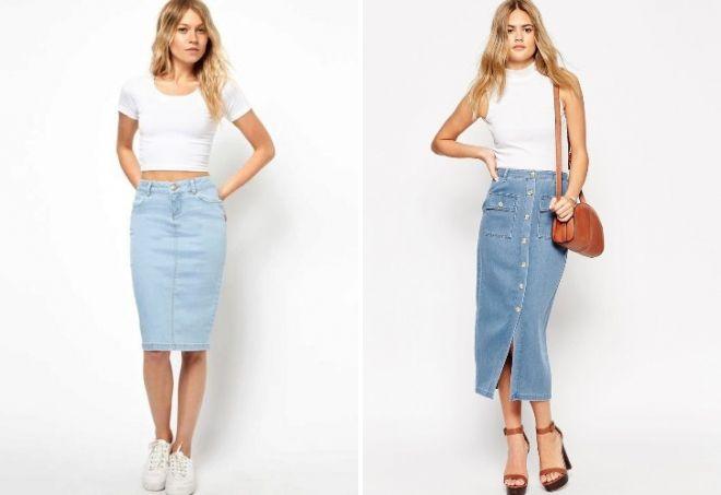 голубая джинсовая юбка