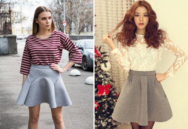 модные серые юбки