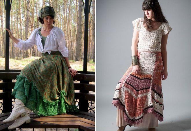 вязаная юбка в стиле бохо