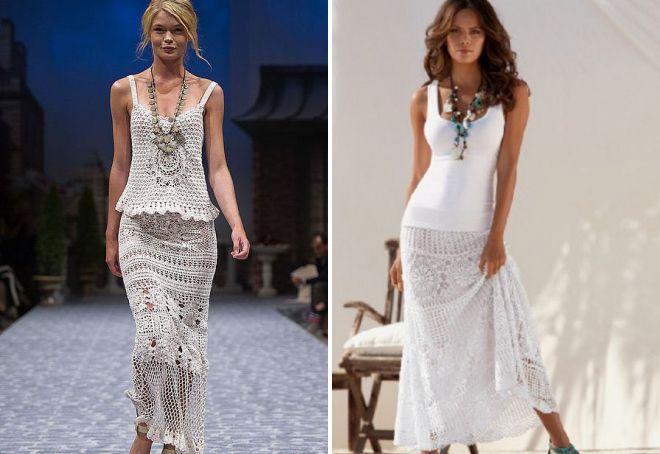 белые вязаные юбки