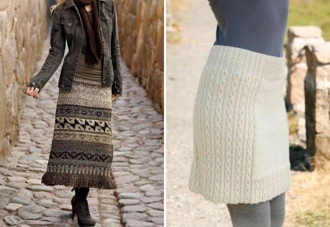 зимние вязаные юбки