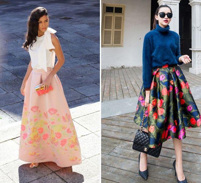 пышная юбка с цветочным принтом 2017