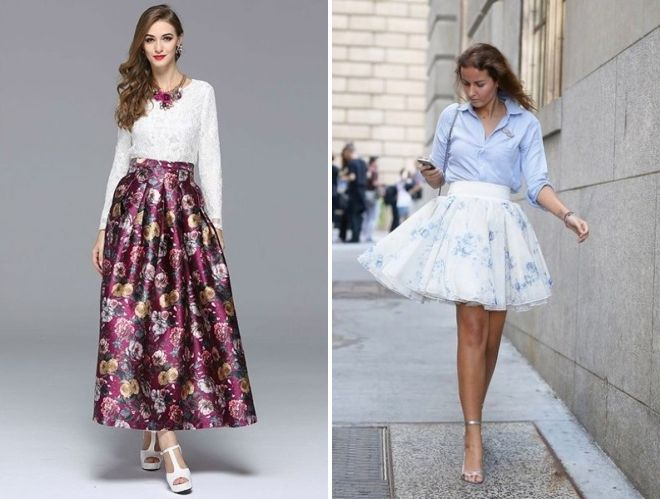 пышные юбки с цветочным принтом 2017