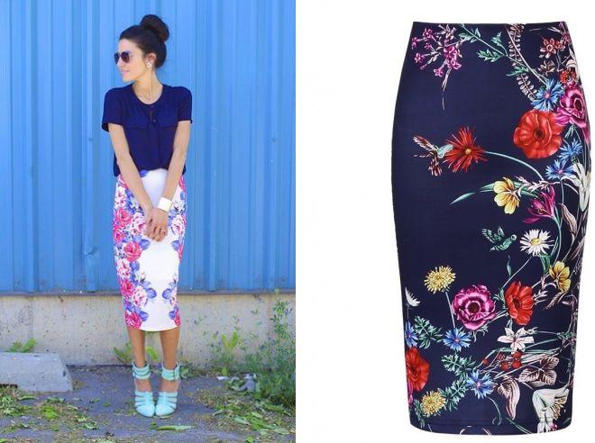 юбка карандаш с цветочным принтом 2017