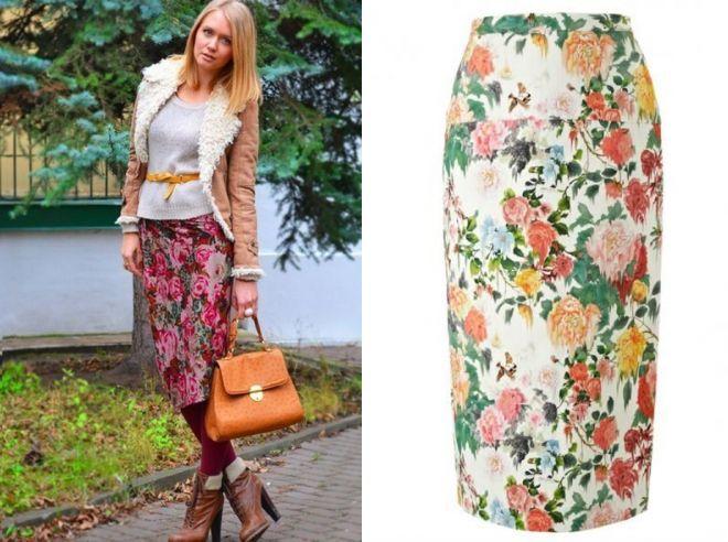 модная юбка карандаш с цветочным принтом