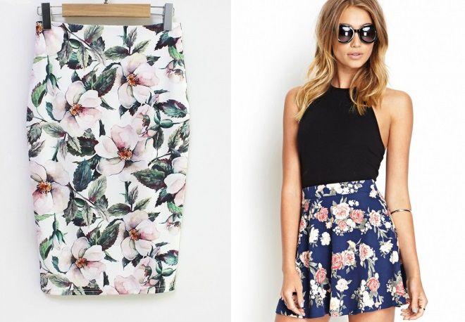 юбки с цветочным принтом 2017
