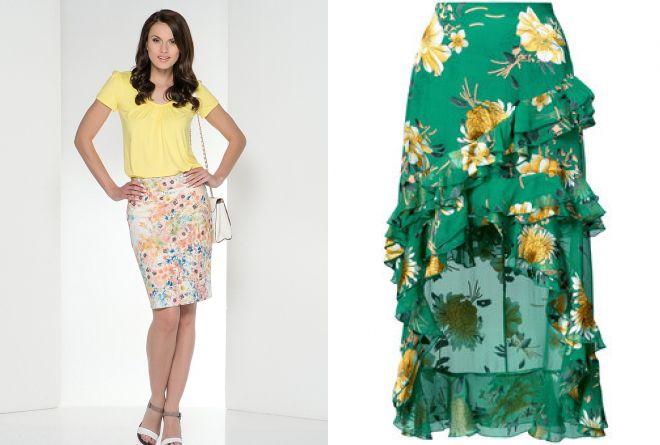прямая юбка с цветочным принтом 2017