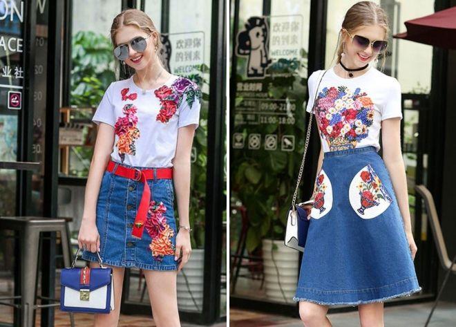 джинсовая юбка с цветочным принтом