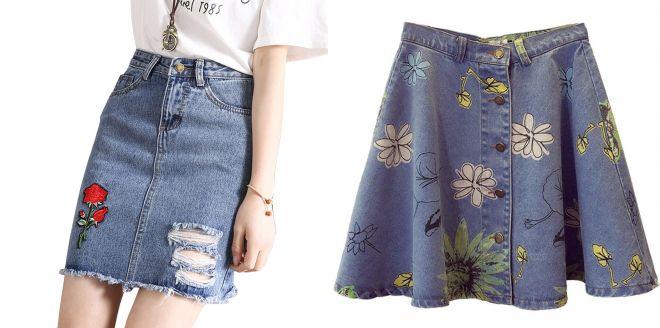 джинсовая юбка с цветочным принтом 2017