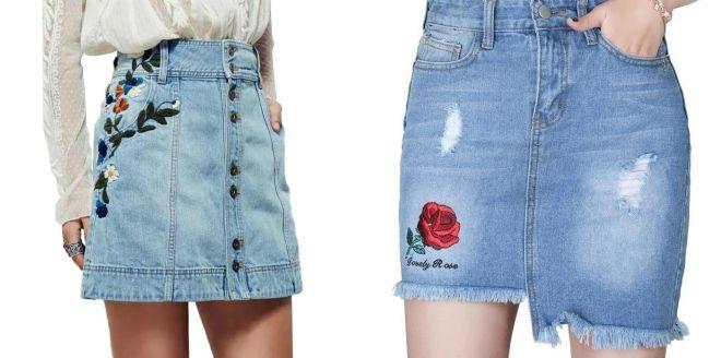 модная джинсовая юбка с цветочным принтом