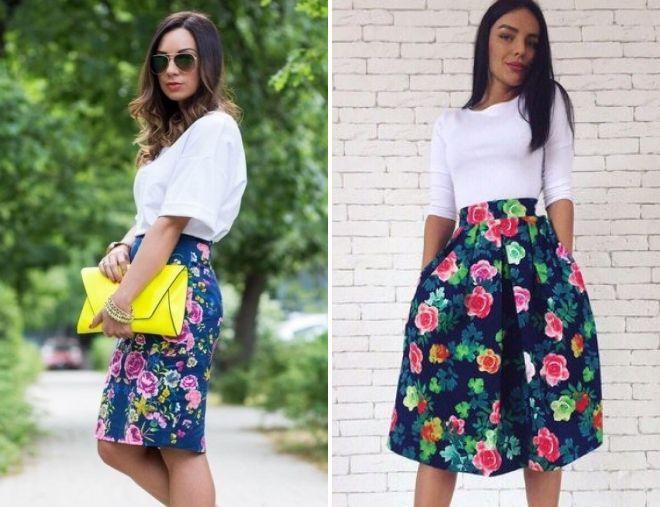 стильная юбка с цветочным принтом