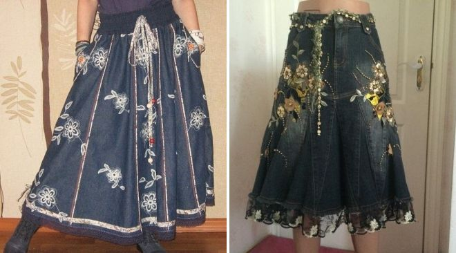стильная джинсовая юбка с цеточным принтом