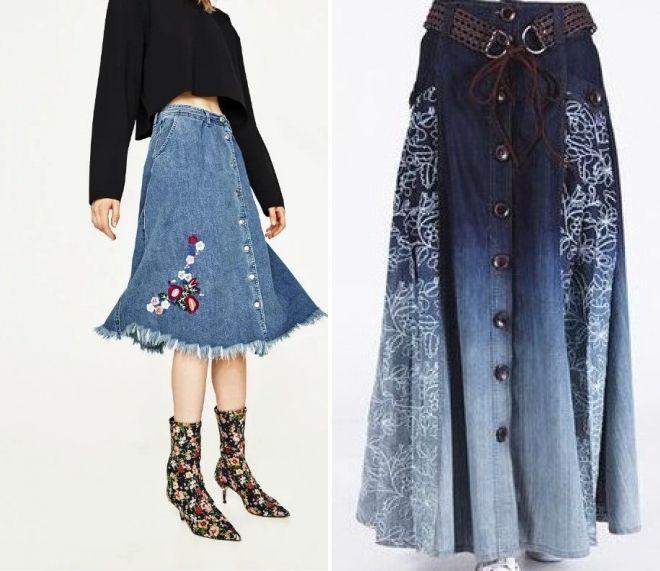 джинсовая юбка с цветочным принтом 2017 года