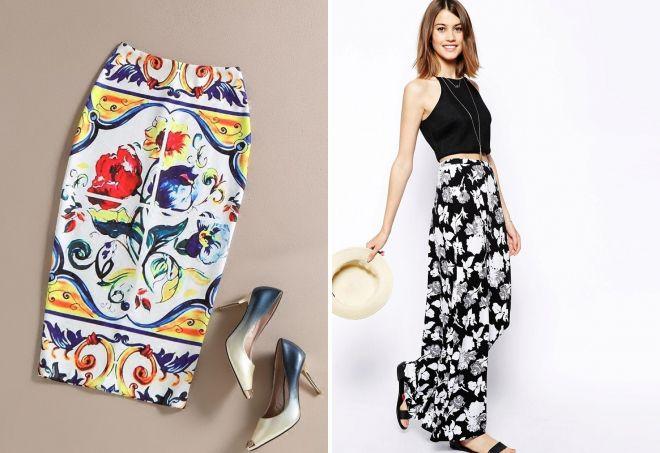 юбка с цветочным принтом 2017