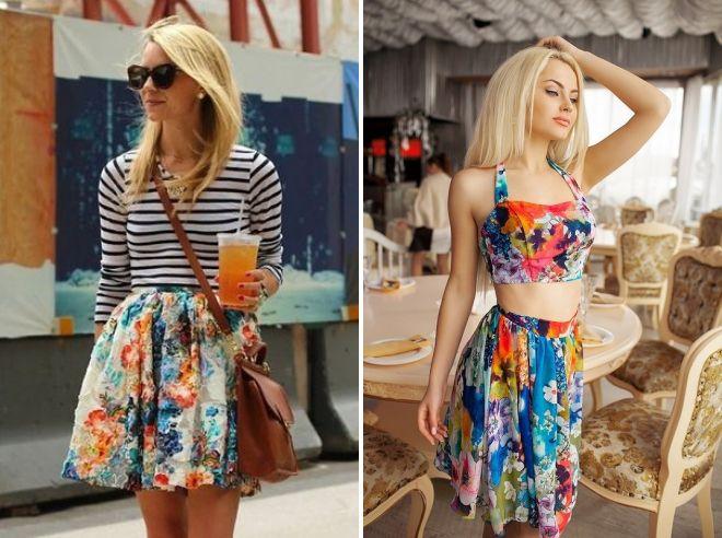 летняя юбка с цветочным принтом 2017