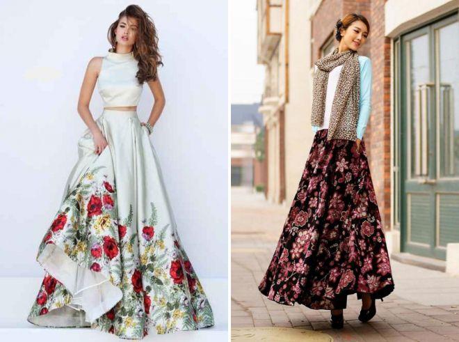 длинная юбка солнце цветочным принтом