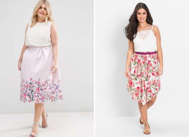юбки с цветочным принтом для полных