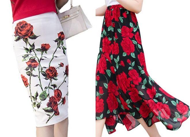 юбка с цветочным принтом 2017 года