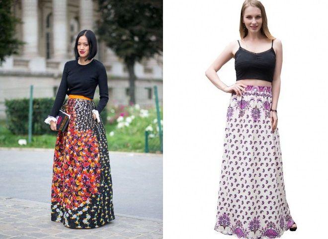 длинные юбки с цветочным принтом