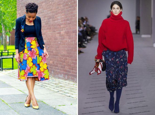 цветочные юбки миди