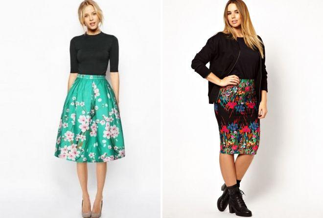 цветочные юбки миди 2017