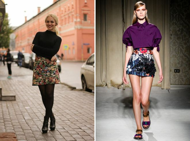 короткая юбка с цветочным принтом 2017