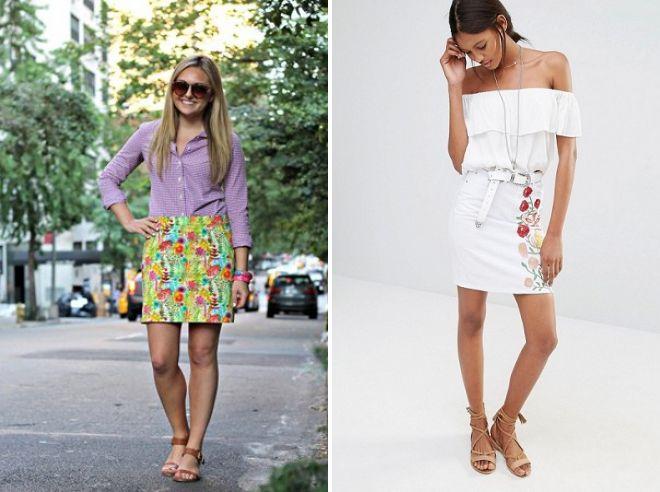 цветочные короткие юбки