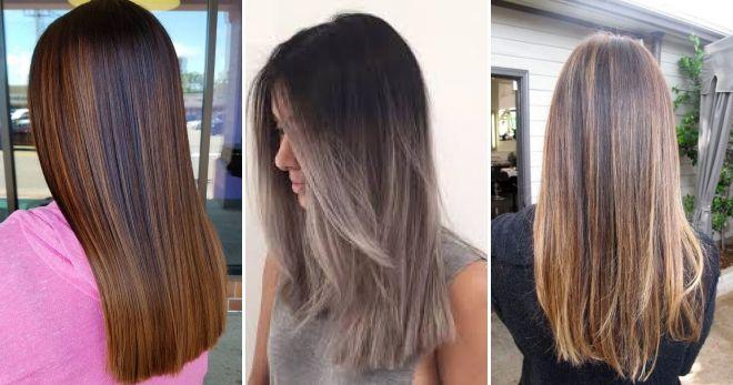Балаяж на прямых волосах мода