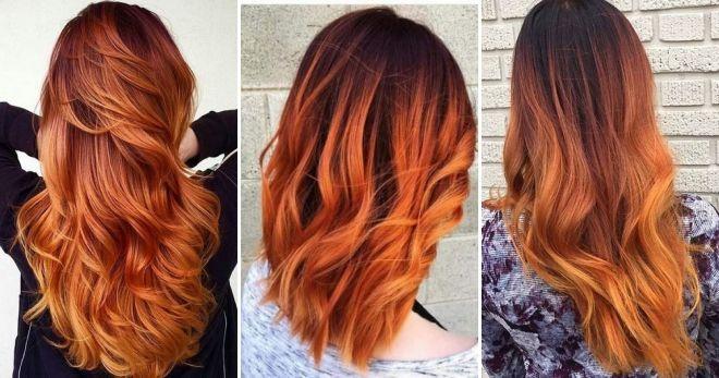 Балаяж на рыжие волосы стиль