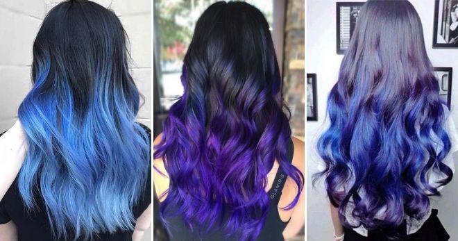 Цветной балаяж синий