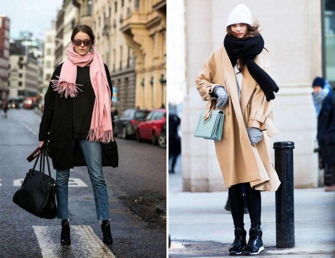 как носить палантин с пальто оверсайз