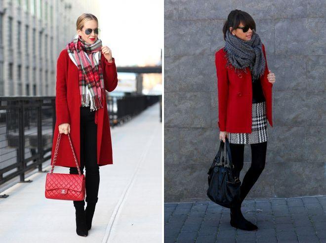 палантин для красного пальто