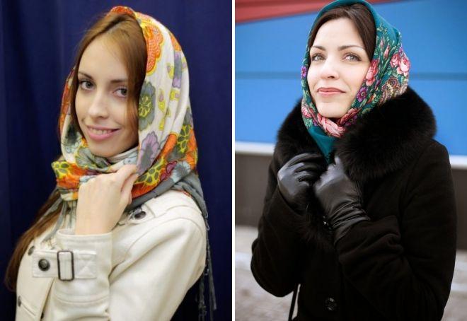 как носить палантин с пальто на голове
