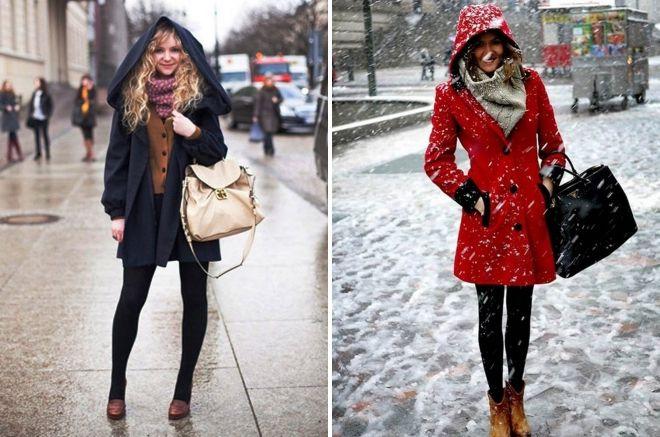 как носить палантин с пальто с капюшоном