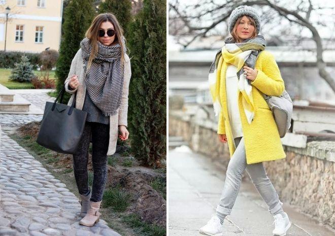 как носить палантин с пальто без воротника