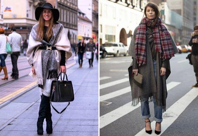 как носить большой палантин с пальто