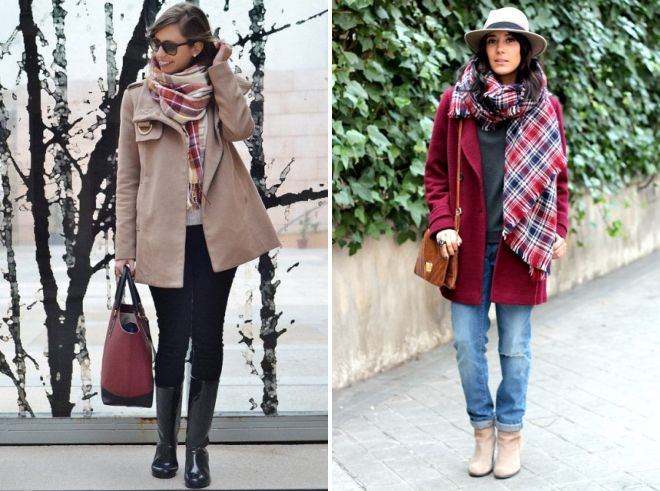 как носить палантин с коротким пальто