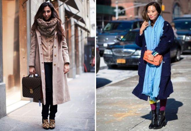 как носить палантин с длинным пальто
