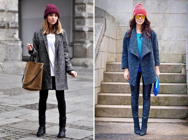 manteau avec bonnet tricoté