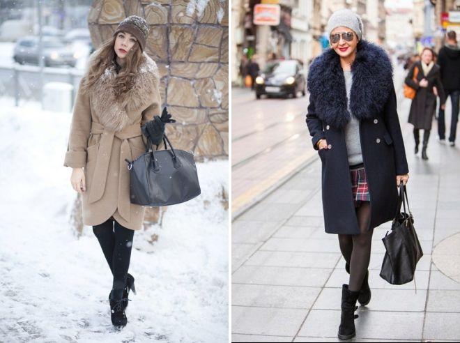 chapeau à manteau avec col en fourrure