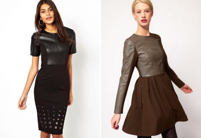 gaun kombinasi dengan kulit