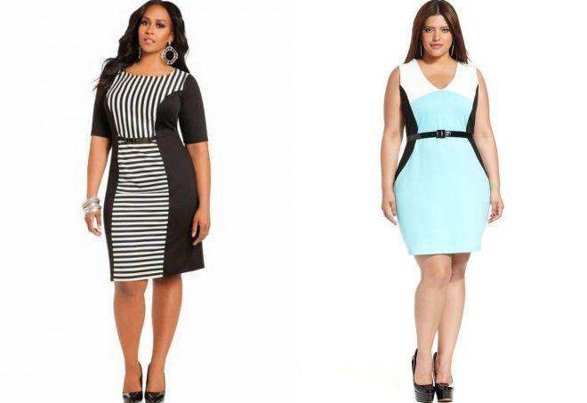 Vestidos combinados para mujeres obesas.
