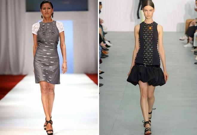 Vestidos combinados de diferentes tejidos.