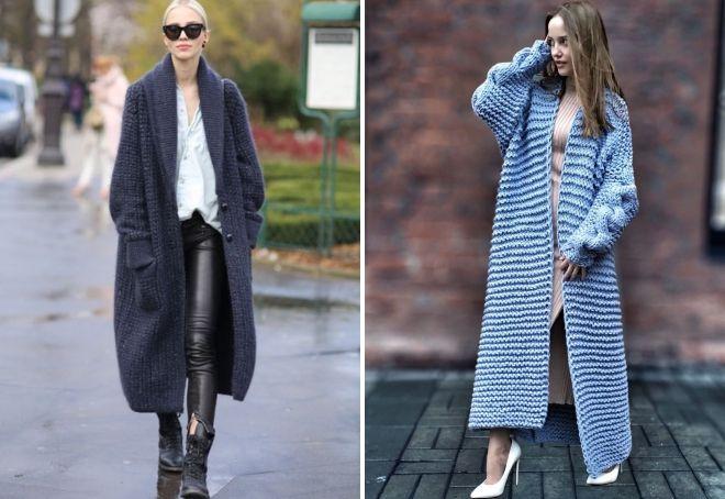 с чем носить вязаное пальто