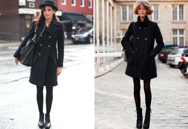 с чем носить женское двубортное пальто