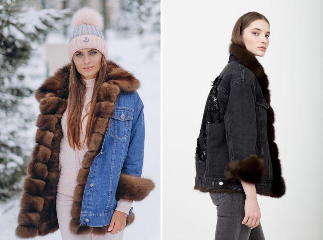 denim jakke med mart pels
