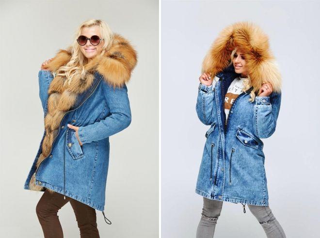 denim jakke med rev pels