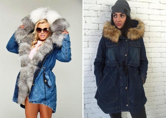 Parka denim jakke med pels