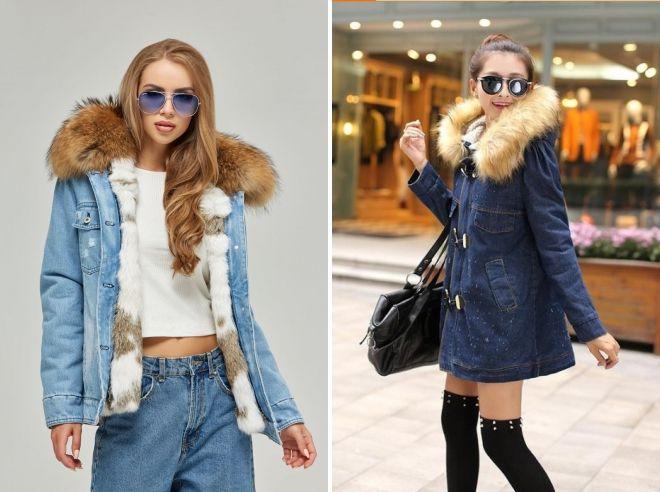 kvinners vinter denim jakke med pels