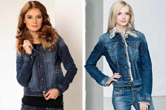 kvinners demi-sesong denim jakke med pels